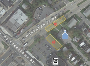 Parking available on Northern Parkway or in Walgreen's parking lot.